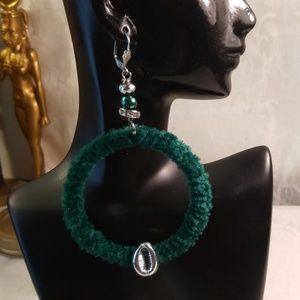 Emerald green Bohemian style hoops fur earrings